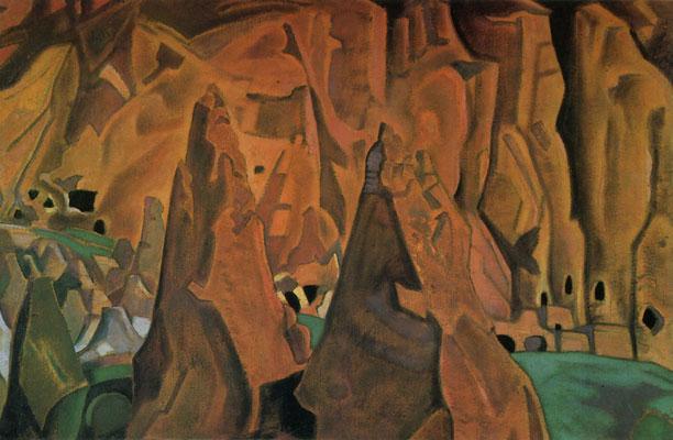 Рерих Н.К. Пещеры в скалах. Нью-Мексико. Третьяковская галерея, 1921 г.
