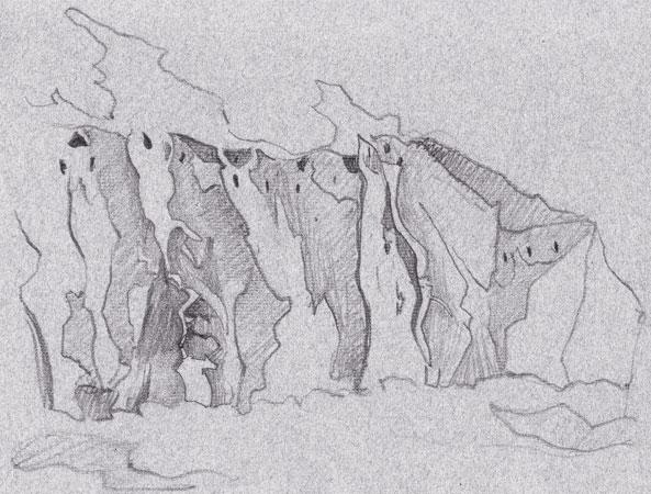 Набросок Н.К.Рериха со скальными жилищами древних индейцев культуры Анасази в окрестностях Санта-Фе (Нью-Мексико, США). Дорожный альбом Н.К.Рериха из собрания ГМВ